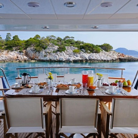 Blu Sky Yacht deck dining