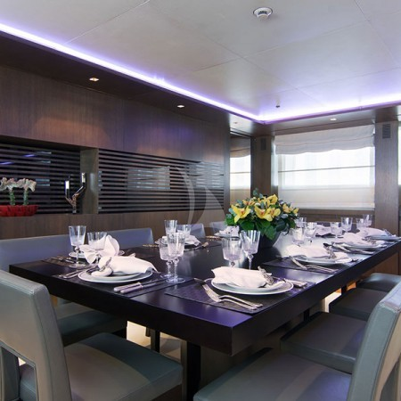 yacht's interior dining area