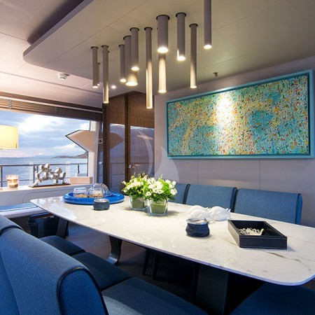 Memories Too yacht dining area
