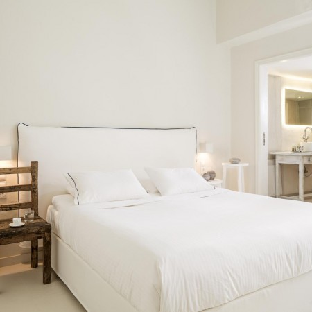 white double bedroom Mykonos Town Villa