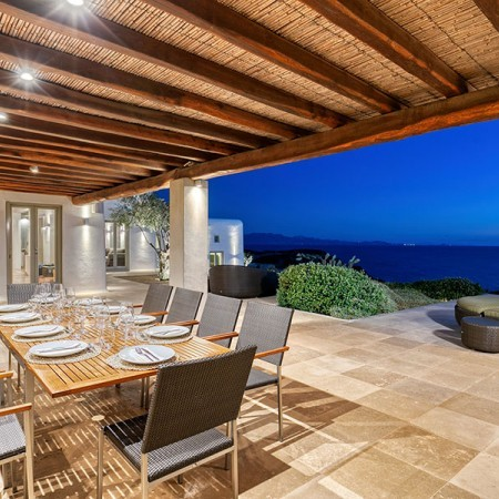 outdoor lounging area and sea view