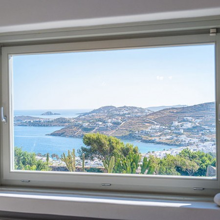glass window with sea view
