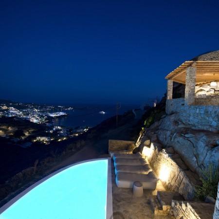 Mykonos villa Alivia at night