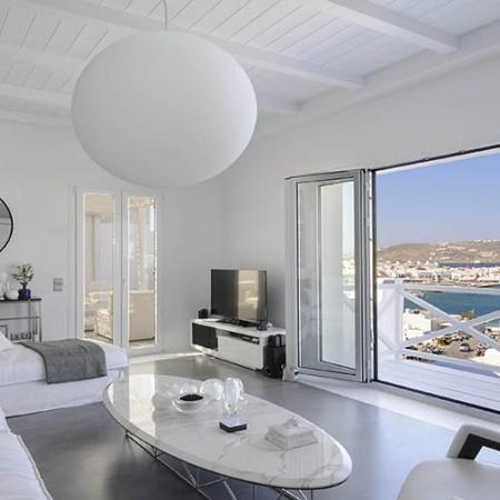 Mykonos Villa Ariel living room with sea view