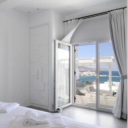 double bedroom with sea view Mykonos Villa