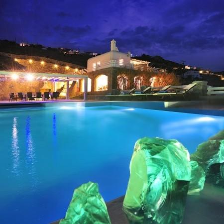 Villa Artemis night lights