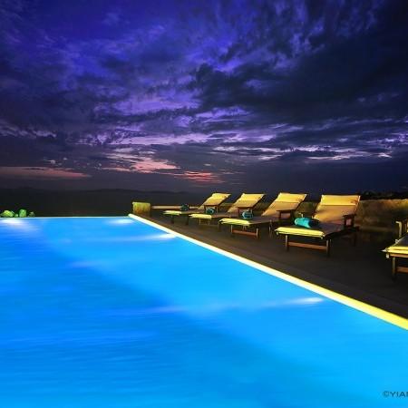 Villa Artemis pool at night