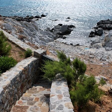 private beach below the villa