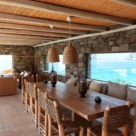 shaded dining area Mykonos villa