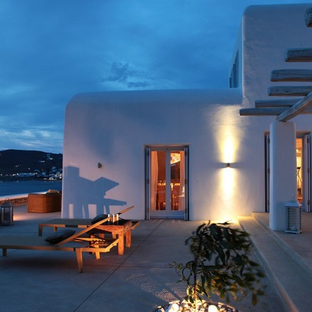Villa Asante exterior at night