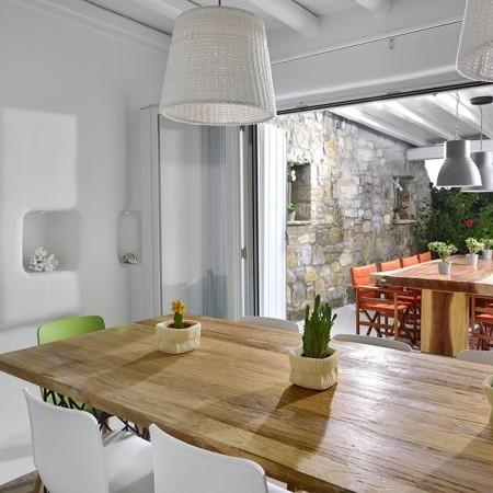 Mykonos luxury villa dining area