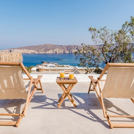 sun loungers and view