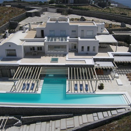 villa cyan mykonos aerial view