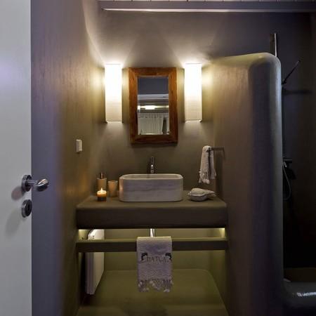 bathroom lighted