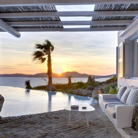 Mykonos Villa with sunset view