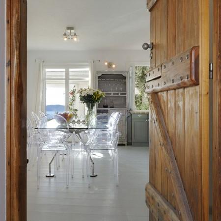 kitchen door at Delos View villa