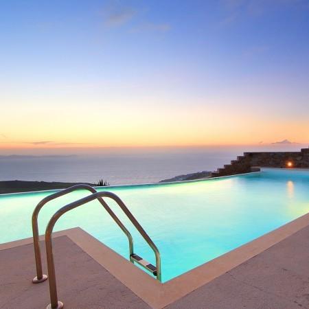 pool after sunset at Villa Azalee