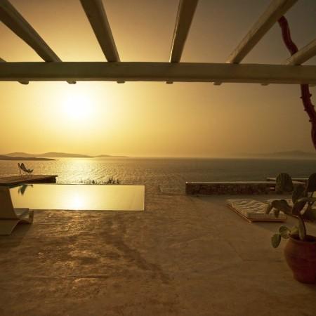 Mykonos villa sunset view