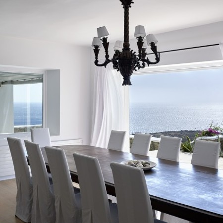 indoor dining area with sea view