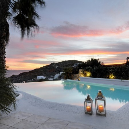Villa Palm Cove Mykonos during sunset