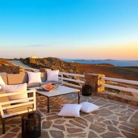 villa veranda at sunset