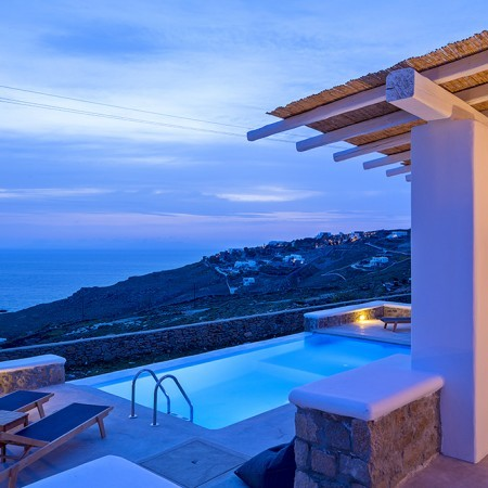 Aegean View Villa after sunset