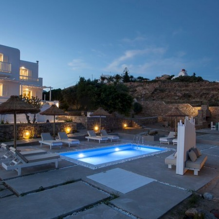 villa alma mykonos night