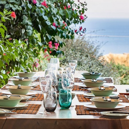 dining table setting on the outdoor area
