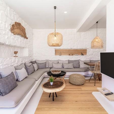 interior with built sofas