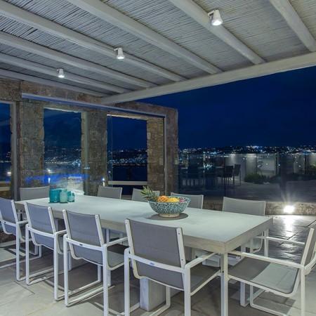 outdoor dining at night