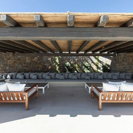 outdoor area with pergolas