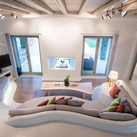 living room with built sofa