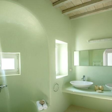 bathroom in green color