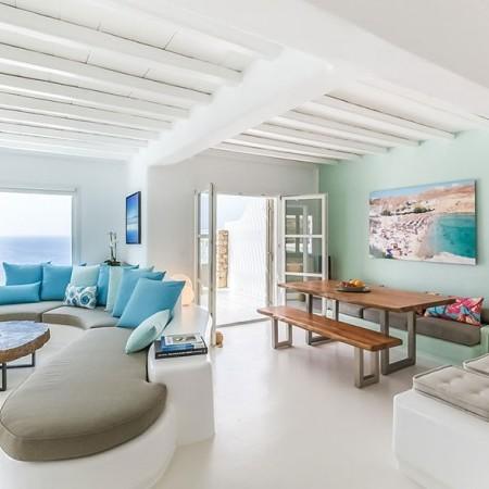 indoor living area at villa Sunsong Mykonos