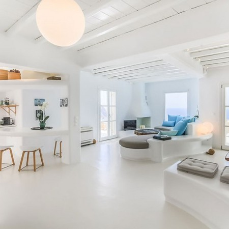 minimal interior living area in white tones