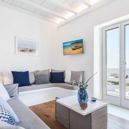 main living area of villa Butterfly in Mykonos