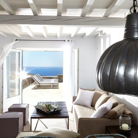 mykonos villa living room