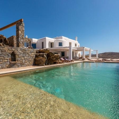 mykonos villa rental above elia beach