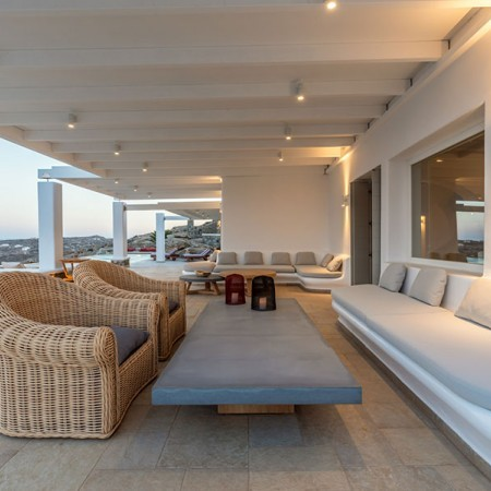outdoor sitting area with built in sofas
