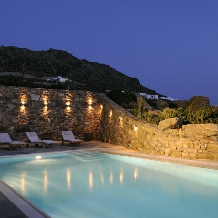 mykonos pool night villa omnia