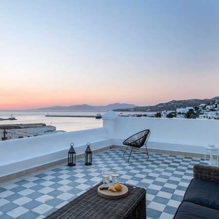 villa viva mykonos sunset view