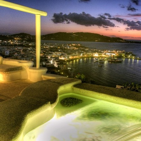 mykonos town view night